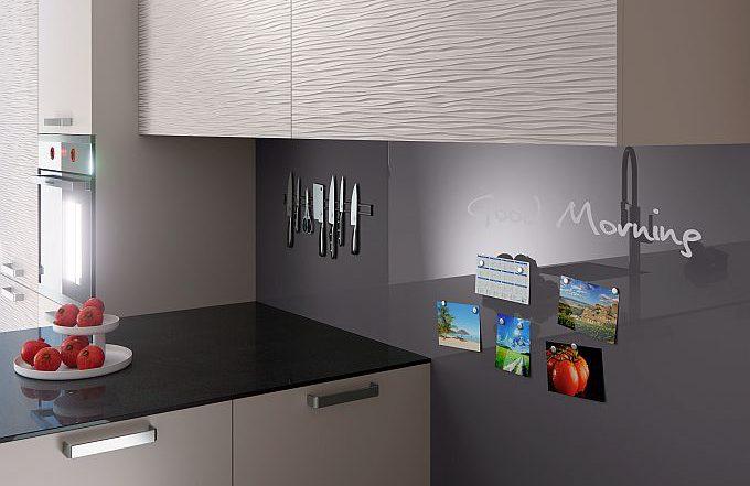 Rauvisio Crystal Magnetic Rauvisio Crystal Slim Magnetic de Rehau es un el laminado de óptica de cristal y adherencia magnética que ofrece múltiples posibilidades de diseño. Rehau laminados superficies para muebles magnético
