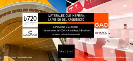 Col·legi d'Arquitectes de Catalunya GAC3000 Media Markt Hi-Macs b720 Fermín Vázquez Arquitectos Lunawood LG Hausys Materiales que inspiran: la visión del arquitecto Gabarró Hermanos