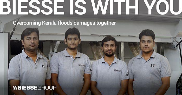 Biesse, Biesse Service, clentes de Biesse en Kerala, inundaciones en Kerala, máquinas de procesamiento de madera y mueble