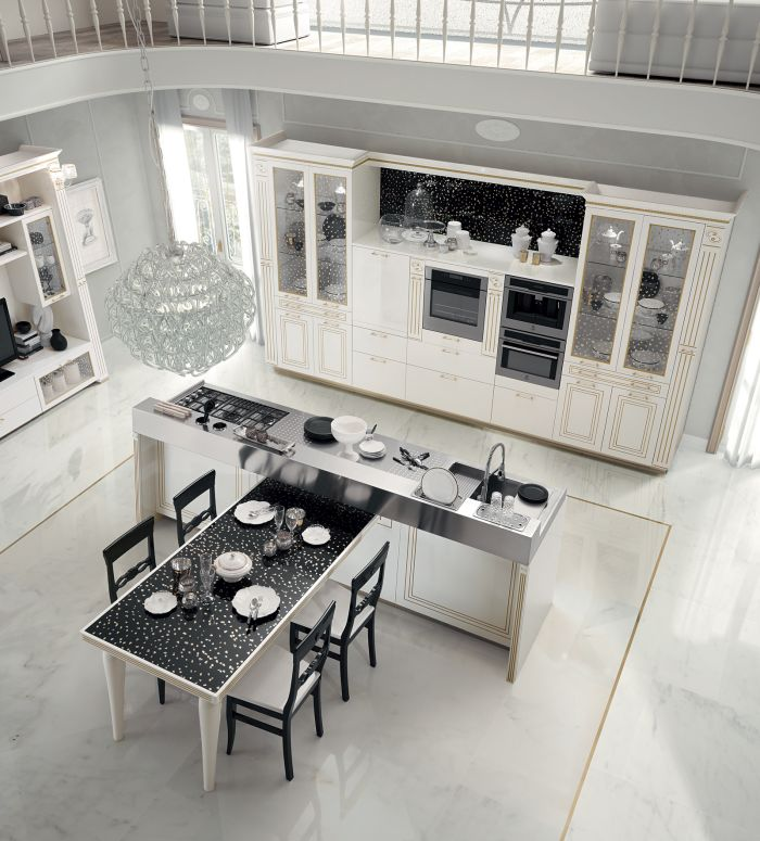 Bianco puro glossy lacquered, black back panels, glass doors, gold leaf, Grigio Carrara, Kitchens, mode de vivre, Rastelli, Rastelli's Tiffany kitchen, Tiffany, Tuileries glossy chrome handles