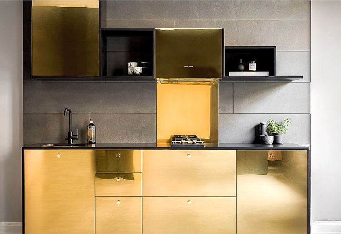 black granite top, cover sides in black MDF, gold fronts, golden cupboard doors, Guldkant, Henrik Haij, Ikea, Ikea's kitchen Metod and sideboard Bestå, Johan Svensson, Picky Living, Svenska Spel, Swedish lottery brand Triss