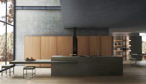 Dark Depth, encimera de gres imitación cal, EuroCucina, Frame, Milan Design Week, Modulnova, Nogal Milano, panel de aluminio alveolar, Proyecto Casa, Twenty, Twenty-Frame