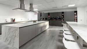 Calacatta, cookery school, cooking school, demonstration bench, marble-effect surfaces, Neolith, Neolith Calacatta, Nonna Paperina, Tiziana Colombo, worktops