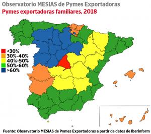 Ránking de la capacidad exportadora de las empresas familiares por comunidades autónomas 2019