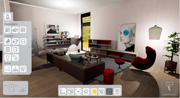 Jump into Reality, Jump into Design, plataforma de realidad virtual para diseñadores de interiores, diseñador de interiores, render, realidad virtual, realidad aumentada, programa para diseño de interiores,