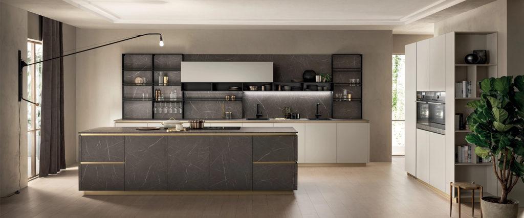 Cocinas en blanco y gris, modelo DeLinea de Scavolini